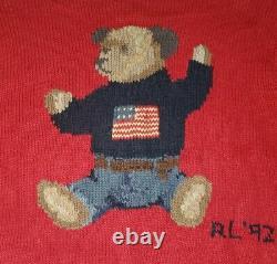Polo Ralph Lauren Sit Down Flag Bear Crewneck Sweater rrl pwing 92 stadium vtg L