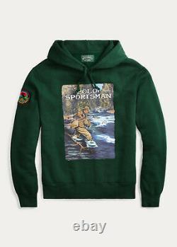 Polo Ralph Lauren Sportsman Fleece Hoodie Sweatshirt Green Retro Vintage Country