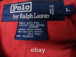 Polo Ralph Lauren Tiger Head Varsity Jacket 1992 RL-92 Wool Leather size L