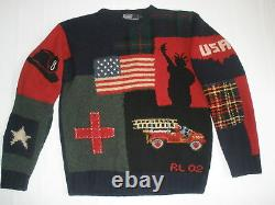 Polo Ralph Lauren Tribute TO 2001 9 / 11 NYFD Wool sweater Mens L RARE VINTAGE