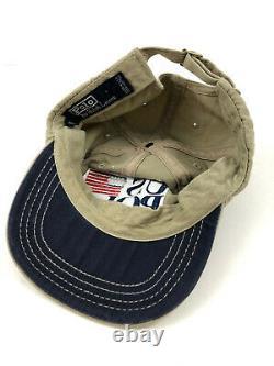 Polo Ralph Lauren US Polo Hat Vintage 90s Strapback Khaki Cap Made in USA Flag