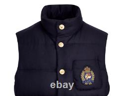 Polo Ralph Lauren VTG Preppy Royal Bullion Crest Patch Wool 750 Down Jacket Vest