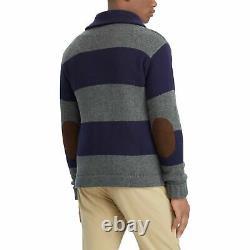 Polo Ralph Lauren VTG Retro 100% Wool Crest Preppy Rugby Knit Sweater Cardigan