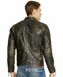 Polo Ralph Lauren Vintage Black Distressed Leather Moto Biker Bomber Jacket NWT