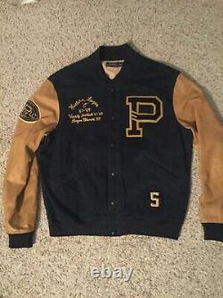 Polo Ralph Lauren Vintage Varsity Leather Mens Jacket Coat Xl, Amazing