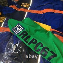 Polo Ralph Lauren Vtg Retro P 93 RLPC67 Colorblocked Hoodie Jacket Hi Tech Sz M