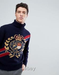 Polo Ralph Lauren Vtg Retro Wool Crest Crown Ski Turtleneck Knit Sweater 92 Men