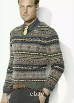 Polo Ralph Lauren X-Large Fair Isle V Neck Sweater RRL Shetland Alpaca Aztec VTG