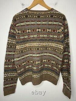 Polo Ralph Lauren X-Large Fair Isle V Neck Sweater RRL Shetland Brown Rugby VTG