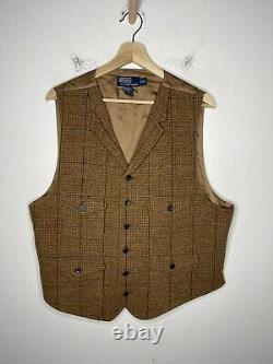 Polo Ralph Lauren X-Large Vest Jacket RRL Rugby Tweed Brown VtG Herringbone Wool