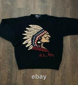 RARE Polo Ralph Lauren Hand Knit Sweater Native Indian Head Size L 94 Vintage