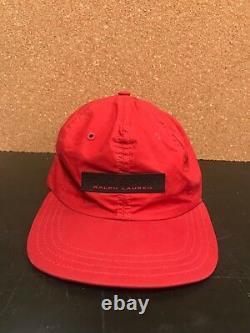 RARE Polo Sport Fitted Rubber Spellout Logo Hat Cap Nylon Ralph Lauren Vintage