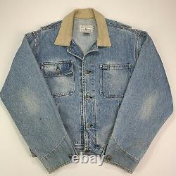 RARE VNTG Polo Ralph Lauren (M) 1992 Denim Indian Chief Corduroy Collar Jacket