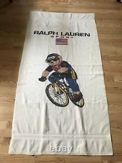 RARE VTG 90s Polo Sport Ralph Lauren Cycle Polo Bear Collectible Beach Towel