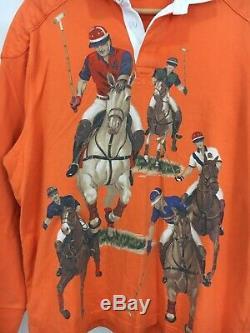 RARE VTG Polo Ralph Lauren 5 Horseman Equestrian Stampede Rugby Polo Shirt Sz L