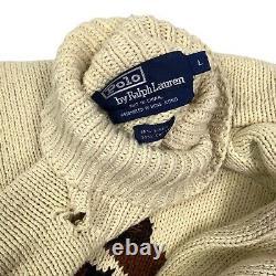RARE Vintage Polo Ralph Lauren Wooden Ski Bear 1993 Hand Knit Turtleneck Sweater
