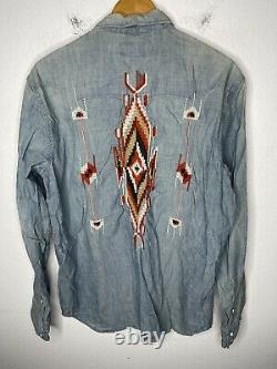 Ralph Lauren Large Aztec Indian Shirt RRL Western VTG Polo Serape Embroidered