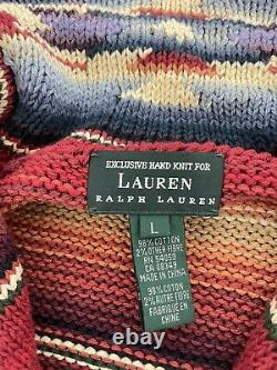 Ralph Lauren Large Cardigan Sweater Southwestern RRL Aztec Serape VTG Red Polo