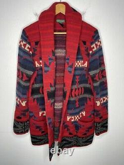 Ralph Lauren Large Sweater Southwestern RRL Aztec Intarsia Polo Wrap VTG Red