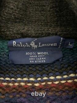 Ralph Lauren Large VTG Indian RRL Aztec Polo Southwestern Sweater Beacon Stripe
