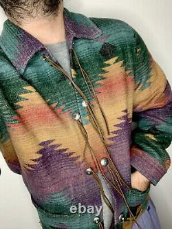 Ralph Lauren Polo Country Jacquard Serape Southwestern RRL Overshirt Jacket VTG