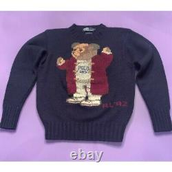 Ralph Lauren Polo Grandpa Bear Sweater VTG 92 Navy Wool Size S Very Rare Small