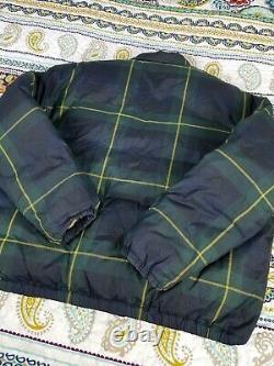 Ralph Lauren Polo Sport Vintage 90s Plaid Down Bomber Jacket Mens Sz L Coat VTG