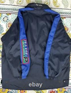 Ralph Lauren Polo Sport Vintage Pepsi stadium Windbreaker Jacket L Spell Out 90s