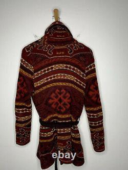 Ralph Lauren Red Cardigan Sweater Southwestern RRL Aztec Intarsia Polo VTG Robe