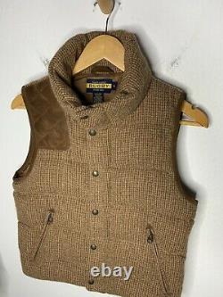 Ralph Lauren Rugby Tweed Vest Jacket Hunting RRL Polo Houndstooth XS Leather VTG