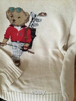 Ralph Lauren Sweater Vintage 90s Polo Sport Bear Golf Mens Sz S