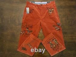 Ralph Lauren Vintage Graphics Polo Orange Corduroy Pants MSRP $198 Size 34 x 32