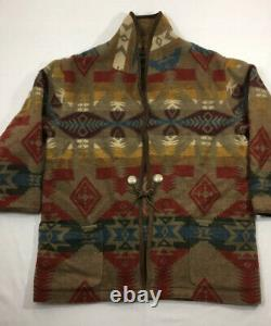 Ralph Lauren XL VTG Indian RRL Aztec Southwestern Sweater Serape Polo Wrap Robe