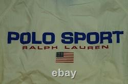 Rare VTG POLO SPORT Ralph Lauren Spell Out USA Flag Bomber Jacket 90s Stadium XL