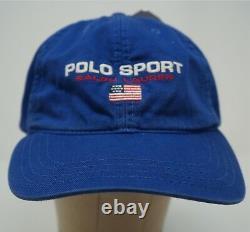 Rare Vintage POLO SPORT Ralph Lauren Spell Out USA Flag Hat Cap 90s RL Blue NWT