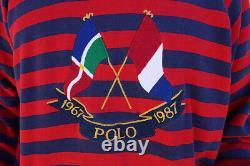 Rare Vintage Polo Ralph Lauren 1967-1987 Cross Flags OG Stripe Hoodie Sweater L