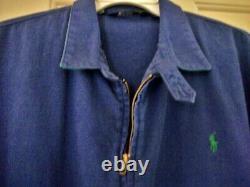 Rare Vintage Ralph Lauren Blue Polo Bear Graphic Zip-front Twill Jacket, Usa, L