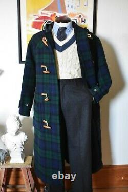 Stunning Rare Vintage Polo Ralph Lauren Blackwatch Tartan Duffle Coat Size L RRL