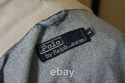 Stunning Vintage Polo Ralph Lauren Washed Denim Firemans Coat Jacket Size L RRL