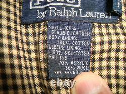 VINTAGE POLO RALPH LAUREN MEN'S ZIP UP SUEDE BOMBER JACKET With LINING SIZE LARGE