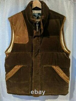 VINTAGE Ralph Lauren Polo Down Feather Corduroy Hunting Vest Excellent Cond LG