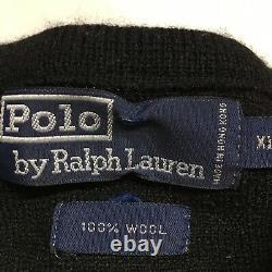 VTG 90s Polo Ralph Lauren RL2000 Black Knit Wool Sweater Mens XL Bear Crest 1992