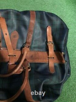 VTG POLO RALPH LAUREN PLAID LEATHER DUFFLE Weekender Duffle Bag