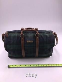 VTG POLO RALPH LAUREN PLAID heavy cloth PVC LEATHER DUFFLE BAG GREEN blackwatch