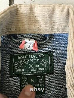VTG Polo Country Ralph Lauren Denim Trucker Jacket RRL Medium Jean Cowboy Ranch