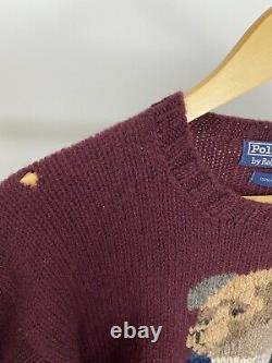 VTG Polo Ralph Lauren Grandpa Bear RL'92 Wool Knitted Sweater RARE Maroon L