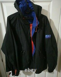 VTG Polo Ralph Lauren HI Tech Windbreaker Light Jacket Black Blue Orange Men L