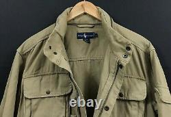 VTG Polo Ralph Lauren Men's Khaki Military Utility Zip Jacket Cargo Pockets sz L