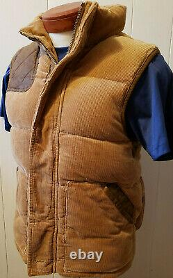 VTG Polo Ralph Lauren Small Brown Corduroy Vest Jacket RRL Down Hunting Leather
