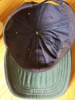 VTG Polo Sportsman Ralph Lauren co USA Navy Blue Hat Cap Salmon cookie patch